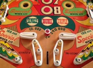 pinball 1951 Genco Tri-Score woodrail pinball machine